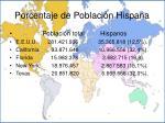 porcentaje de poblaci n hispana