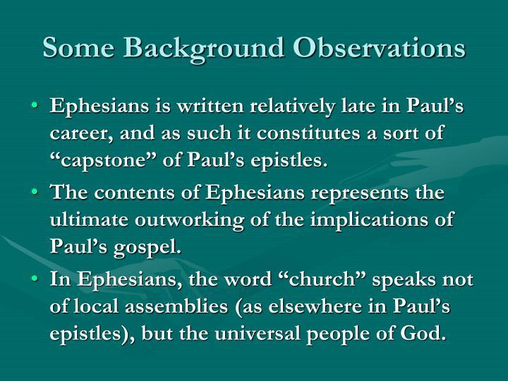 Some background observations