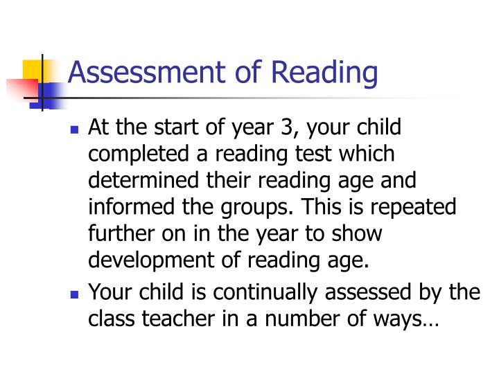 Assessment of Reading