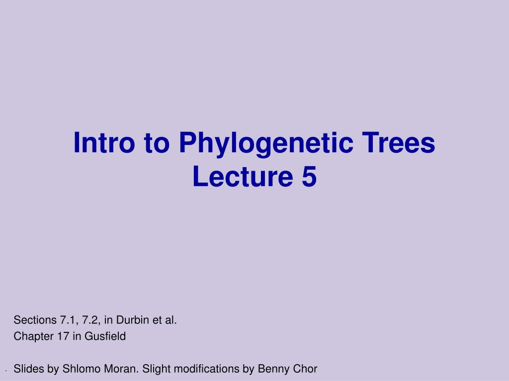 intro to phylogenetic trees lecture 5 l.