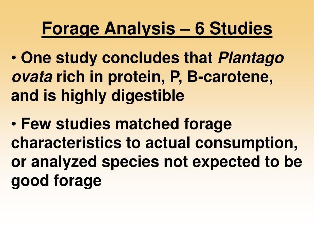 Forage Analysis – 6 Studies