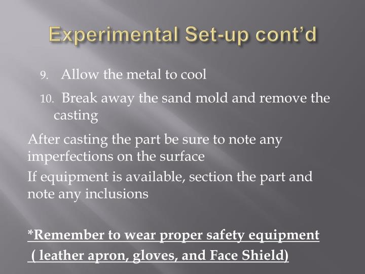 Experimental Set-up cont'd