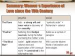 summary women s experience of love since the 19th century21