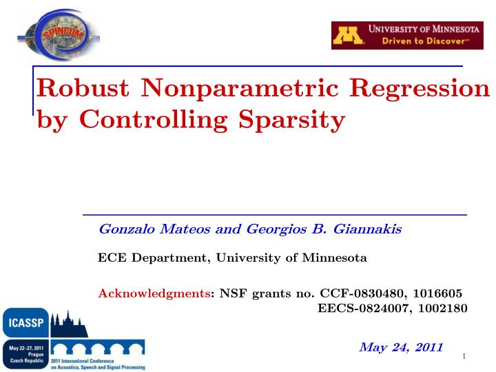 robust nonparametric regression by controlling sparsity n.