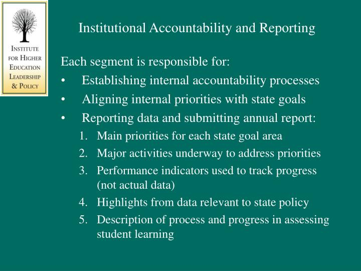 Institutional Accountability and Reporting