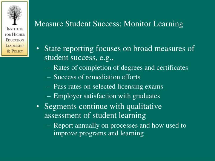 Measure Student Success; Monitor Learning
