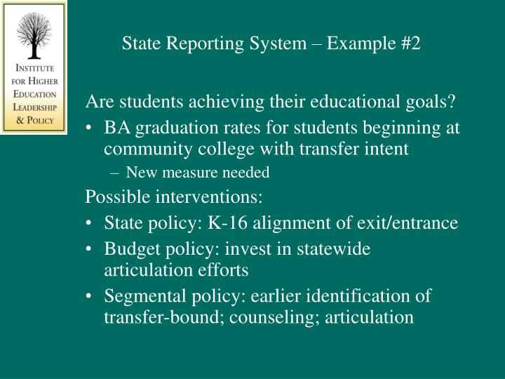 State Reporting System – Example #2