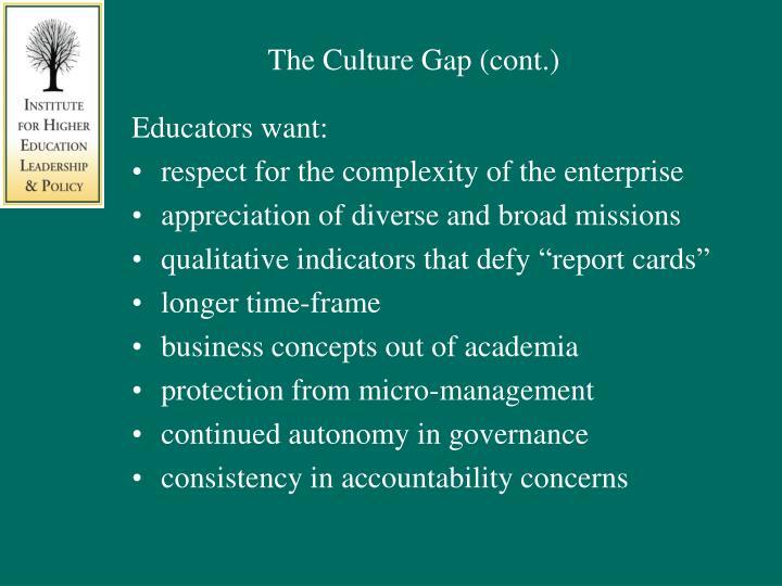 The Culture Gap (cont.)