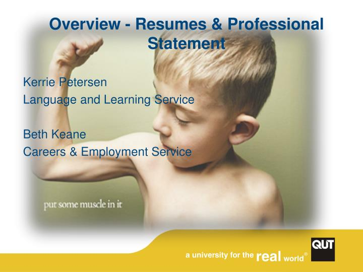 overview resumes professional statement n.