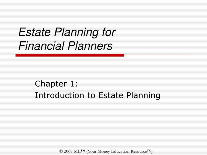 estate planning for financial planners n.