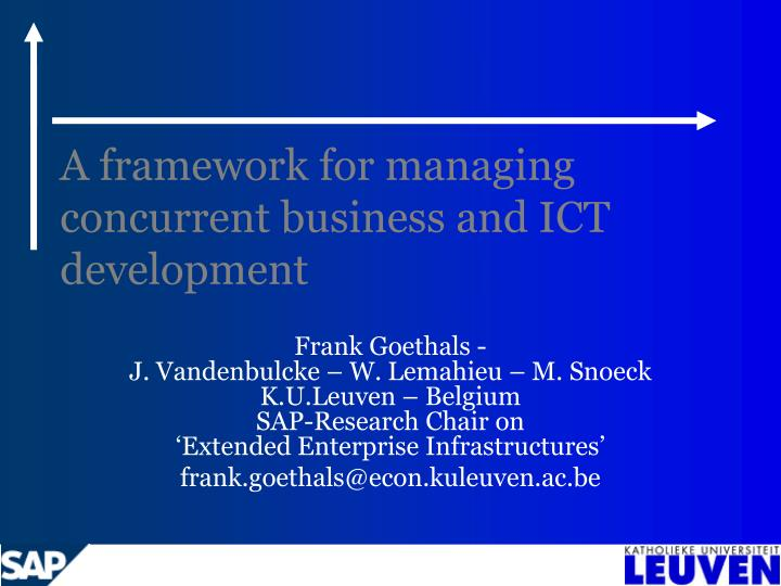 a framework for managing concurrent business and ict development n.
