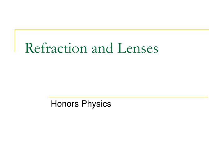 refraction and lenses n.