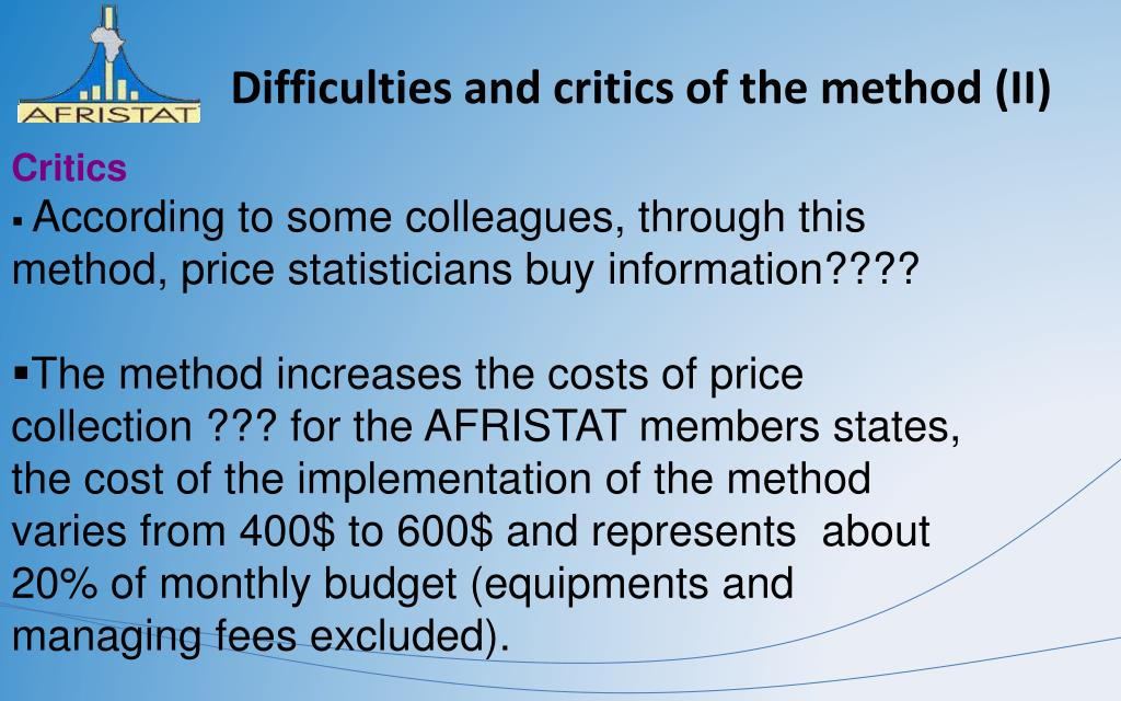 Difficulties and critics of the method (II)