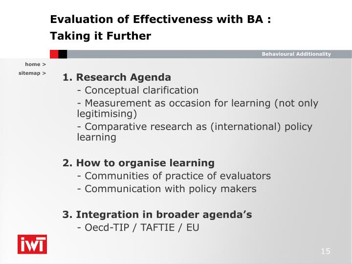 Evaluation of Effectiveness with BA :