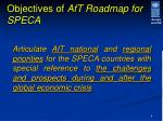 objectives of aft roadmap for speca