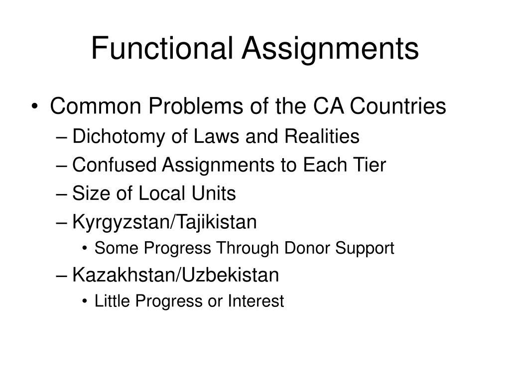 Functional Assignments