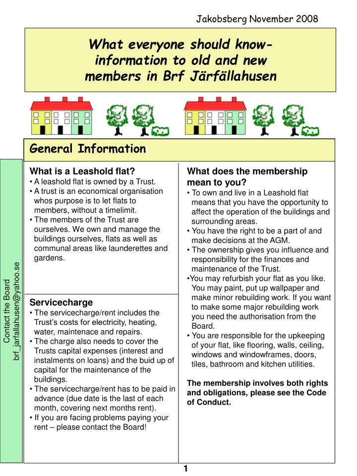 what everyone should know information to old and new members in brf j rf llahusen n.