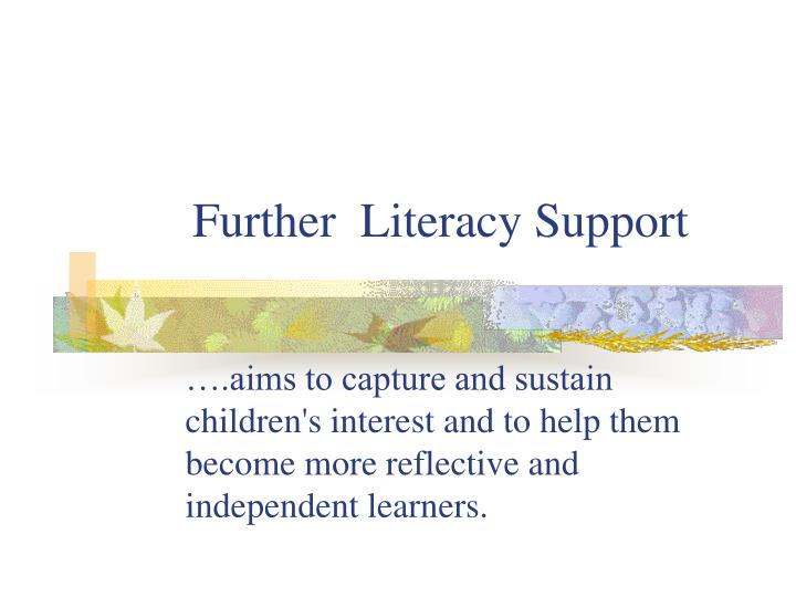 further literacy support n.