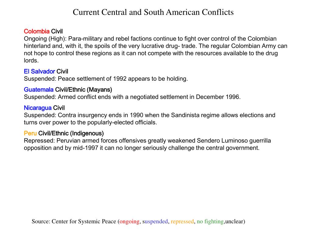 Current Central and South American Conflicts