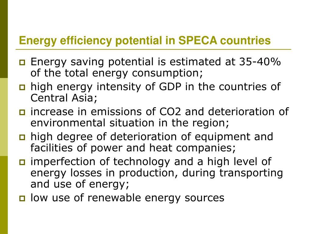 Energy efficiency potential in SPECA countries