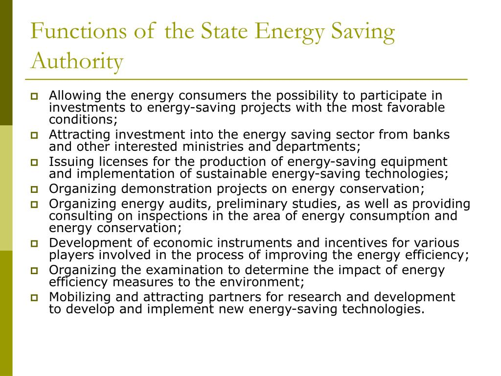 Functions of the State Energy Saving Authority