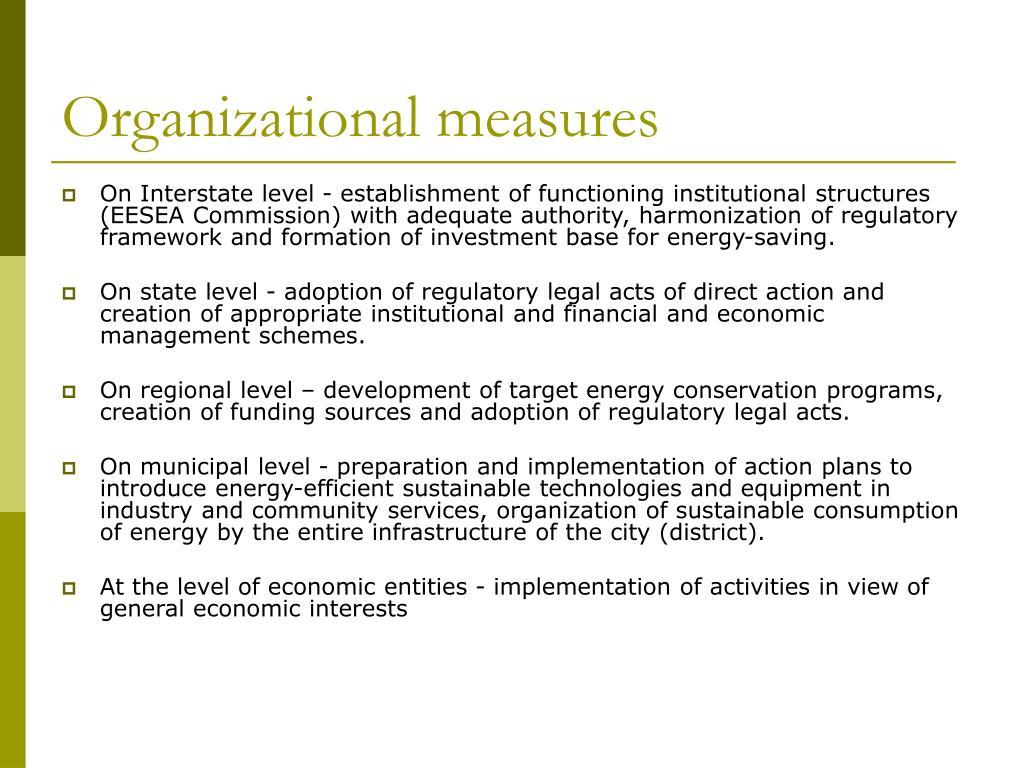 Organizational measures