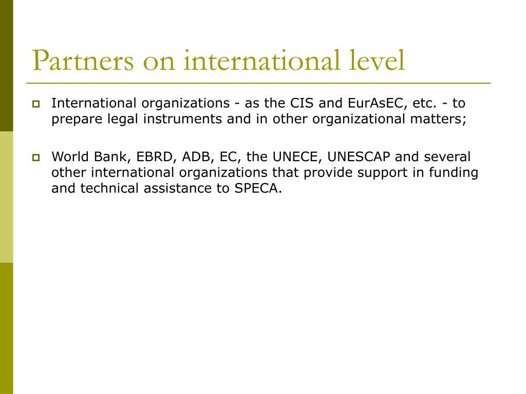 Partners on international level