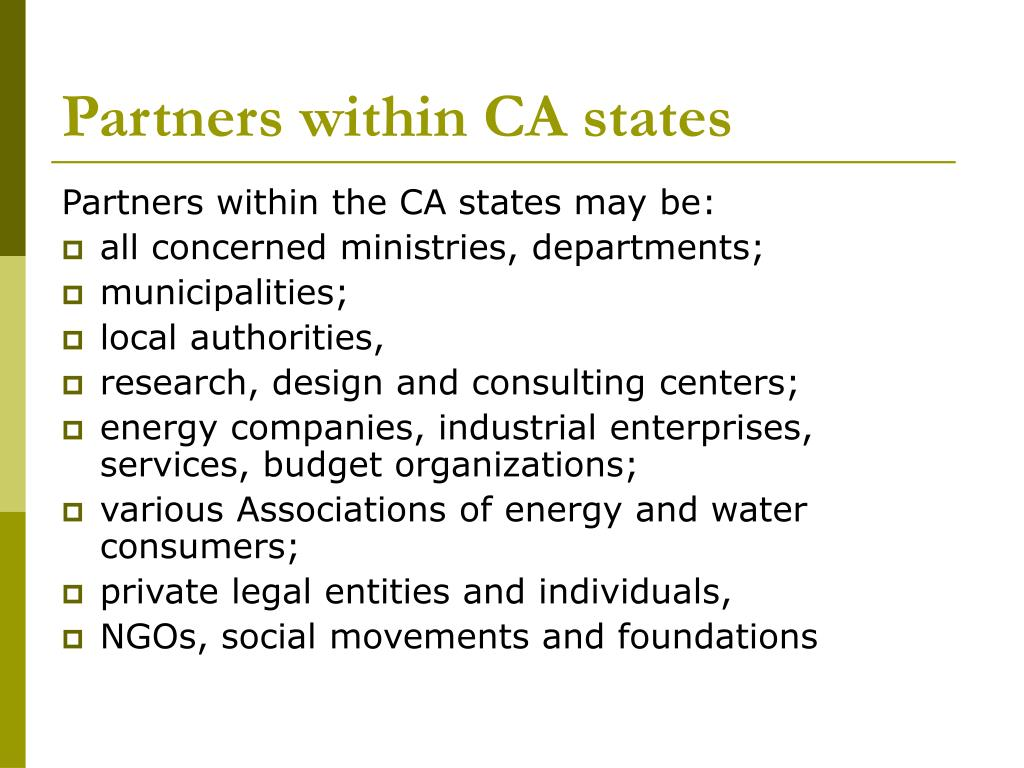 Partners within CA states