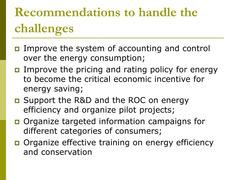 Recommendations to handle the challenges
