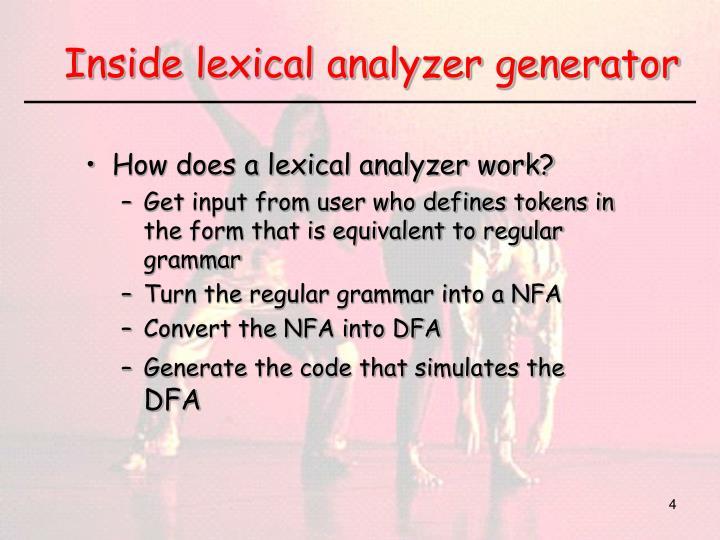 Inside lexical analyzer generator
