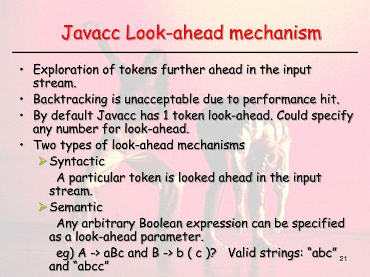 Javacc Look-ahead mechanism