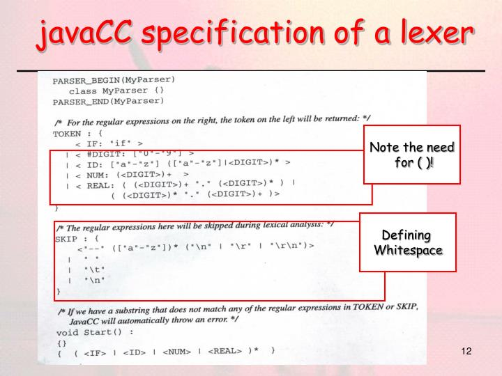 javaCC specification of a lexer