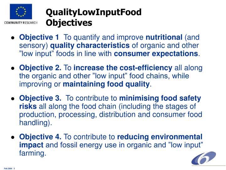 Qualitylowinputfood objectives