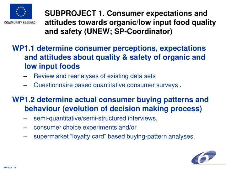 SUBPROJECT 1. Consumer expectations and attitudes towards organic/low input food quality and safety (UNEW; SP-Coordinator)