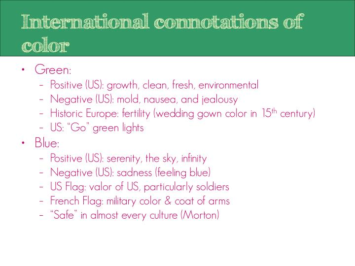 International connotations of color