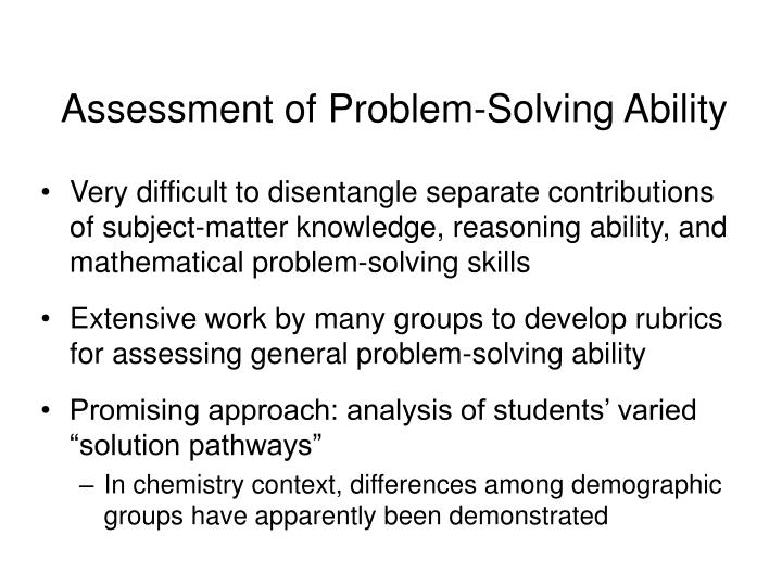 Assessment of Problem-Solving Ability