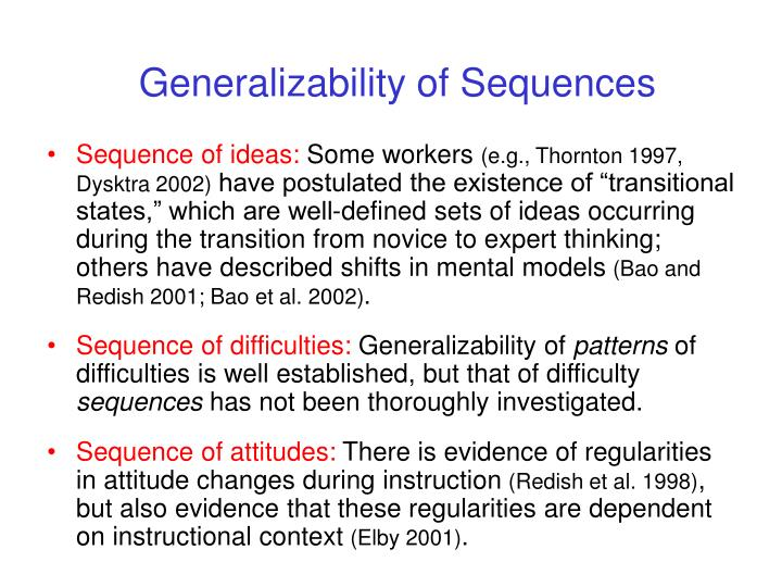 Generalizability of Sequences