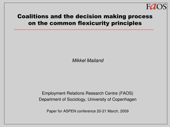 coalitions and the decision making process on the common flexicurity principles n.