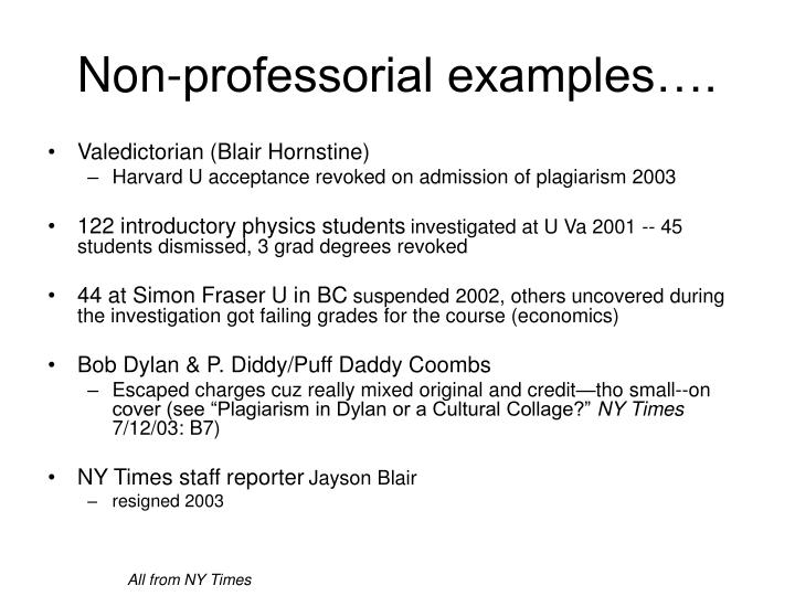 Non-professorial examples….