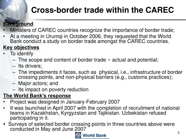 Cross border trade within the carec