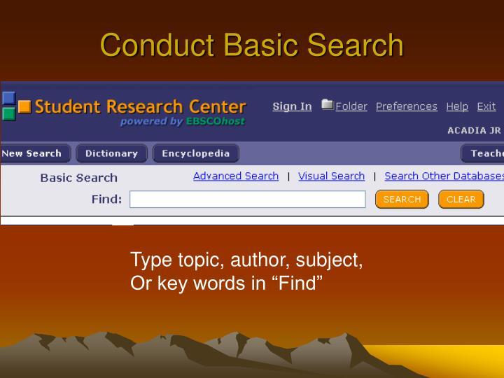Conduct Basic Search
