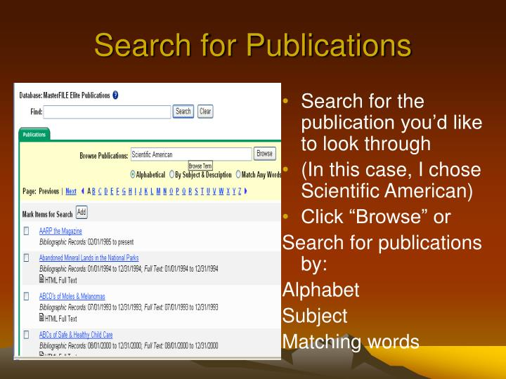 Search for Publications
