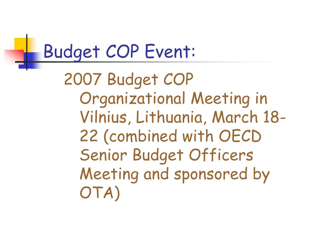 Budget COP Event: