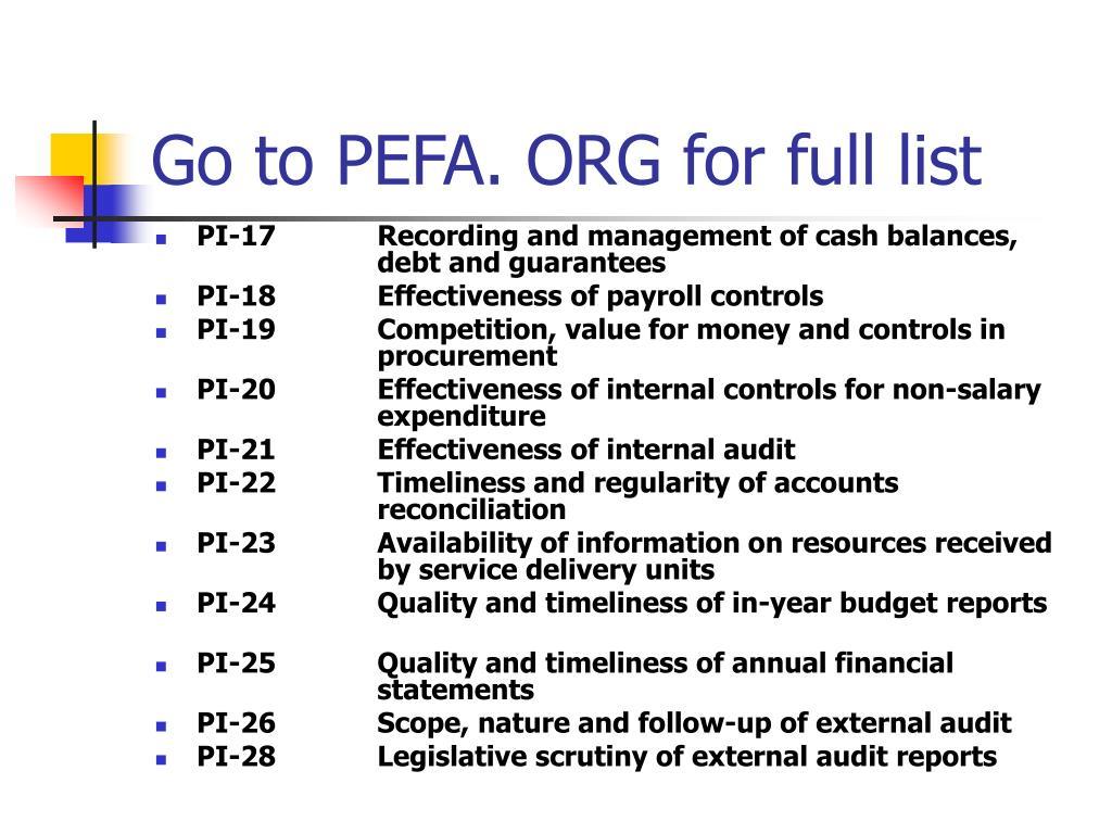 Go to PEFA. ORG for full list