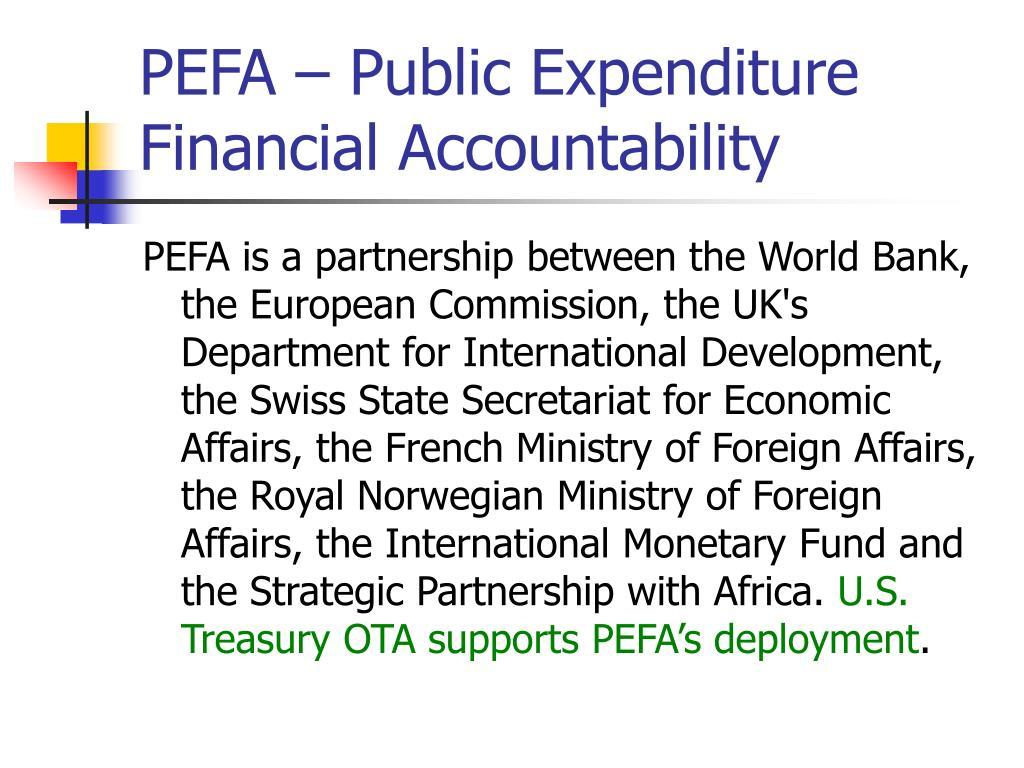 PEFA – Public Expenditure Financial Accountability