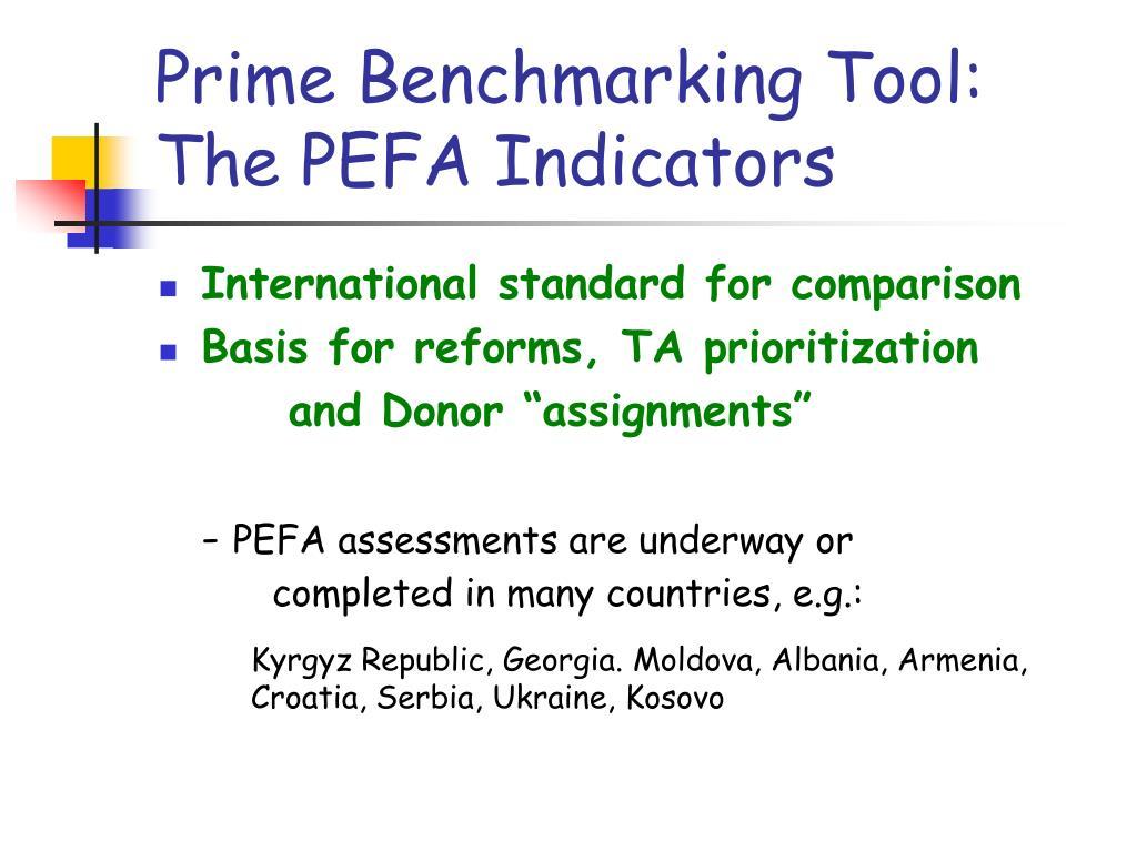 Prime Benchmarking Tool: The PEFA Indicators