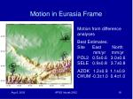 motion in eurasia frame