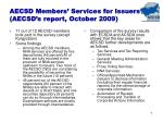 aecsd members services for issuers aecsd s report october 2009