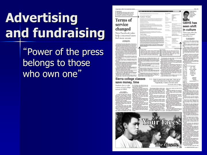 advertising and fundraising n.