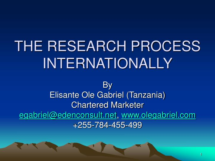 the research process internationally n.